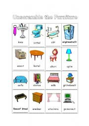 English Worksheet: Furniture Unscramble Activity