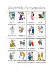 English Worksheet: Occupations Unscramble