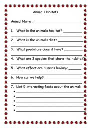 Vocabulary worksheets > The animals > Animal habitats