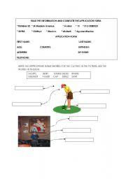 English Worksheet: application form