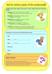 English Worksheets: Ask for various parts of the sentences - Asking questions!!!
