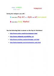 English Worksheet: POP ART WEBQUEST
