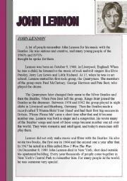 JOHN LENNON - A WELL READING PASSAGE AND COMPREHENSION QUESTIONS - ANSWER KEY INCLUDED