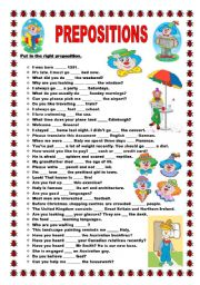 English Worksheets: Prepositions