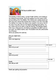 English Worksheet: Writing Accident Reports