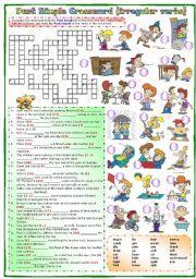 English Worksheet:  Past simple Crossword (irregular verbs)