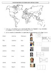 English Worksheet: Nationalities, countries and capital cities