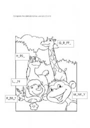 Complete the animals names