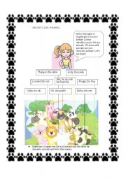 English Worksheets: wild and domestic animals at the zoo