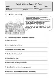 English Worksheet: Test_LIKES AAND DISLIKES, FOOD, DEMONSTRATIVE PRONOUNS (4 PAGES)