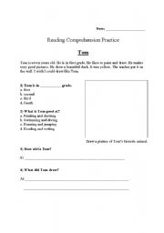 English Worksheets: Reading comprehension for Grade 1 (Topic: Tom)