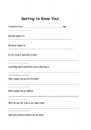 English Worksheets: Getting to Know You!!!