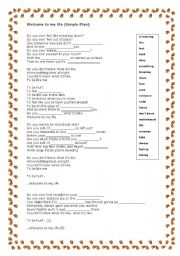 English Worksheet: welcome to my life / simple plan