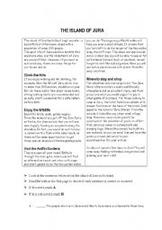 English Worksheets: reading comprehension 1