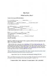 English Worksheet: WISH YOU WERE HERE- PINK FLOYD