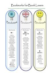 English Worksheets: BookMarks...to study Word Formation. (2)