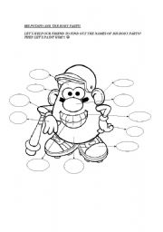English Worksheet: MR POTATO AND THE BODY PARTS