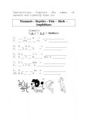 English Worksheets: Classify de animals