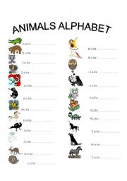 Animals alphabet   With each letter, one animal.   ESL worksheet