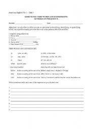 English Worksheet: ADJECTIVES/ TIME WORDS AND EXPRESSIONS/ ADVERBS OF FREQUENCY