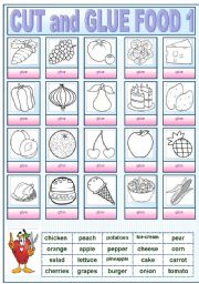 English Worksheets: CUT AND GLUE FOOD1