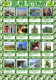 Ireland pictionary plus written practice of the attractions´names