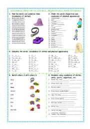 English Worksheet: vocabulary of clothes and physical appearance