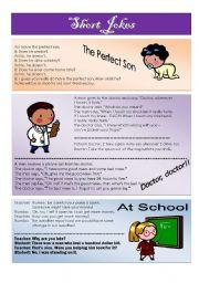 English Worksheet: short jokes