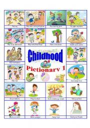 English Worksheets: Childhood pictionary 1