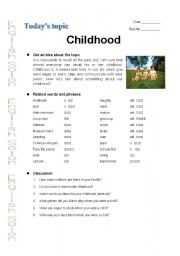 English Worksheets: Childhood