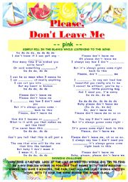 English Worksheet: pink - don�t leave me - lyrics and rhyming
