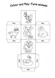 English Worksheets: Colour and play: farm animals cube