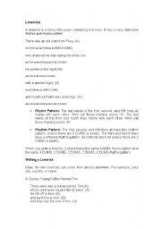 English Worksheet: Limericks