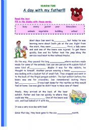 English Worksheet: Reading Comprehension: A day with my father!!!!