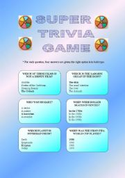 English Worksheets: SUPER TRIVIA GAME