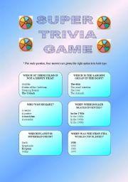 English Worksheet: SUPER TRIVIA GAME