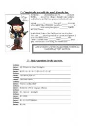 English Worksheets: Complete the text and make questions.
