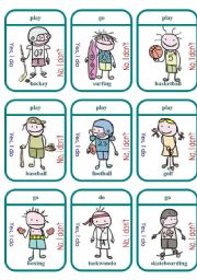 English Worksheet: Do/Play/Go Sports Game Cards