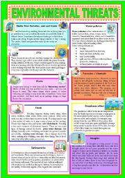 English Worksheets: ENVIRONMENTAL THREATS
