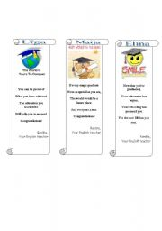 Graduation greetings/bookmarks (1/3)