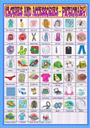 English Worksheets: Clothes and Accessories - Pictionary