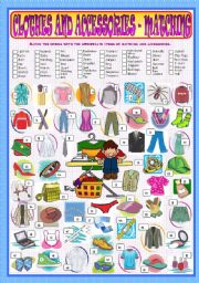 English Worksheets: Clothes and Accessories - Matching