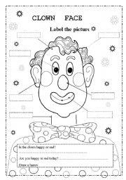 English Worksheets: clown face