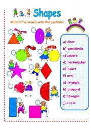 English Worksheets: SHAPES VOCABULARY PART 1