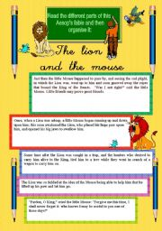 Worksheet The Lion And The Mouse Worksheets english teaching worksheets the lion and mouse fable mouse