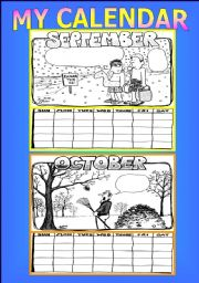 English Worksheet: Make your own calendar activity: part 3 of 3