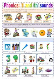 English Worksheet: PHONICS - /T/ + /TH/