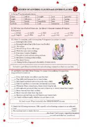English Worksheets: ADVERBS, CLAUSES and ADVERB CLAUSES