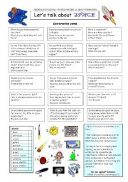 English Worksheet: Let�s talk about SPACE