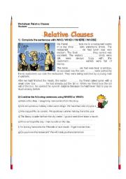 English Worksheets: RELATIVE PRONOUNS (WHO, WHICH, WHOSE, WHAT, THAT)